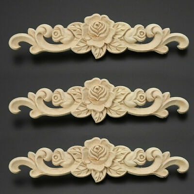 AU4.60 • Buy 2Pcs Wooden Carved Applique Furniture Unpainted Mouldings Decal Onlay Home Decor