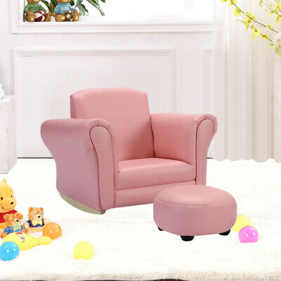 Upholstered Rocking Chair Pink Kids Sofa Armrest Couch Children Toddler Ottoman • 44.95£