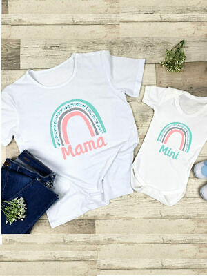 Mama And Mini Rainbow Matching Mum And Daughter Outfit, T-shirt And Baby Vest • 20£