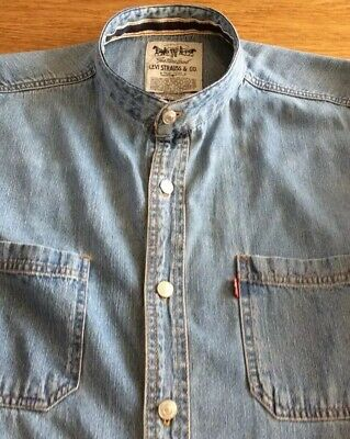 Mens Vintage Denim Grandad Shirt By  Levis.            18. Collar.   L • 8.50£