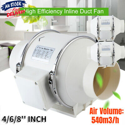 AU68.99 • Buy 4/6/8'' INCH Hydroponic Inline Exhaust Industrial Vent Silent Fan Extractor Duct
