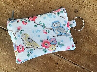 Handmade Earphone Case Tiny Coin Purse Key Ring Cath Kidston Owls Fabric • 3.75£
