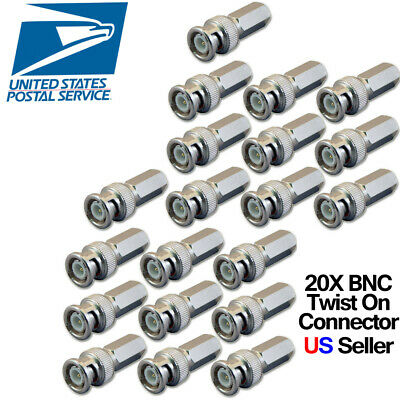 $ CDN12.32 • Buy 20X Twist On BNC Male RG59 Connector For Analog CCTV Camera Siamese Coax Cable