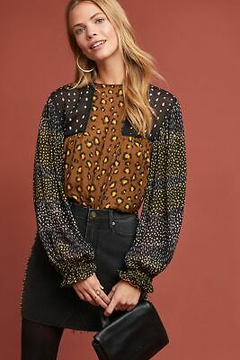 $ CDN95.51 • Buy  Anthropologie Bl-nk Eclectic Peasant Top - Leopard Print Sz Large Blank