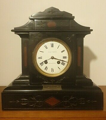 Stunning French Black Slate & Marble Mantel Clock C1878 Ninewell House Chirnside • 149.99£