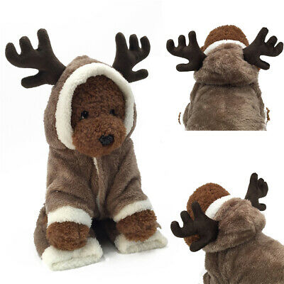 Pet Xmas Reindeer Dog Warm Costume Cat Hoodie Clothes Christmas Puppy Outfit UK • 7.99£