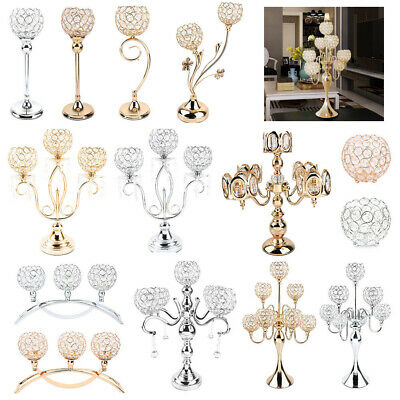 £34.99 • Buy Crystal Candle Holders Candlesticks For Dining Room Wedding Table Centerpieces