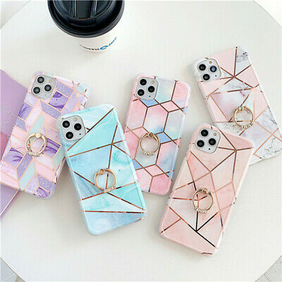AU16.66 • Buy Shockproof Marble Hard Phone Case For IPhone 11 Pro XS Max 7 8 Cover With Ring