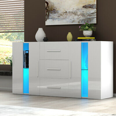 Modern TV Cabinet Sideboard Storage Cupboards 3 Drawers 2 Doors RGB LED Lights • 145.99£