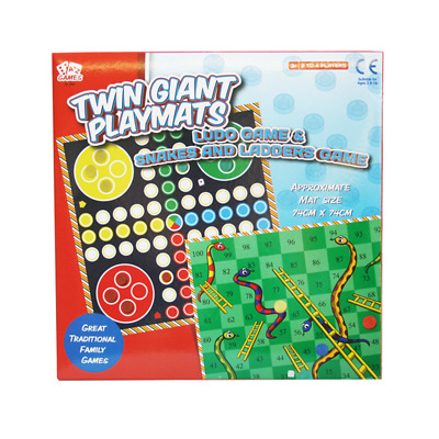 A To Z Games Twin Giant Playmate Ludo & Snakes And Ladders Game 74xm X 74cm • 4.99£