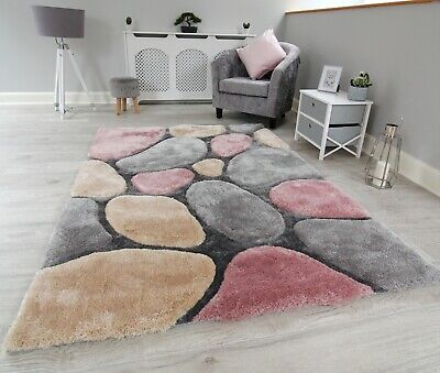 New Pink Grey Silver Beige Thick Pile Pebbles Design Rug Modern Soft Shaggy Mat • 49.95£