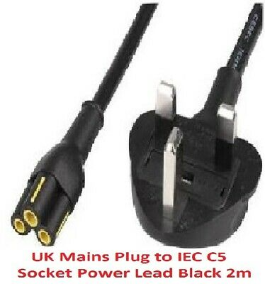 Genuine Brand C5 CLOVERLEAF 3 PIN MAINS CABLE CLOVER LEAF  LEAD POWER CORD 2M UK • 1.99£