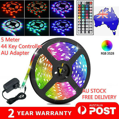 AU18.88 • Buy Rgb Led Strip Lights Waterproof 5m 300leds/12v+44 Key Ir Controller Adapter Au🔥