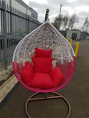 Stylish And Gorgeous Rattan  Weave Swing Chair With Iron Stand REDWHITE  • 335£
