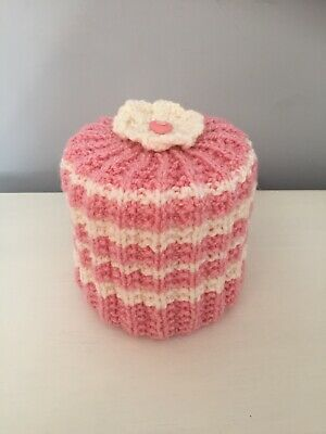 Hand Knitted Pink And Cream Toilet Roll Cover • 4.45£