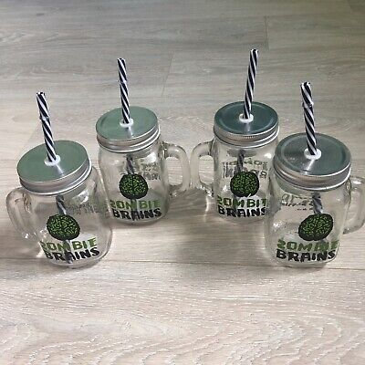 X4 Zombie Brain Mason Glass Drinking Jar. Lid, Straw And Handle Halloween Party • 15£