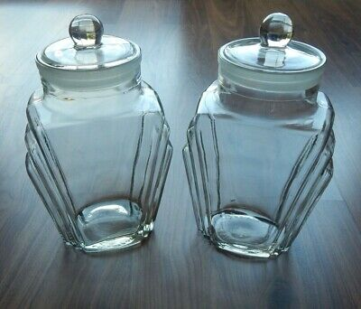 Vintage Pair Of Art Deco Glass Storage Jars/Container With Ground Lid - 1933 • 149.97£
