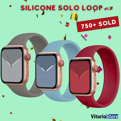 $ CDN4.85 • Buy Solo Loop Silicone Elastic Strap For Apple Watch 6 5 4 3 2 SE Band 38-44mm