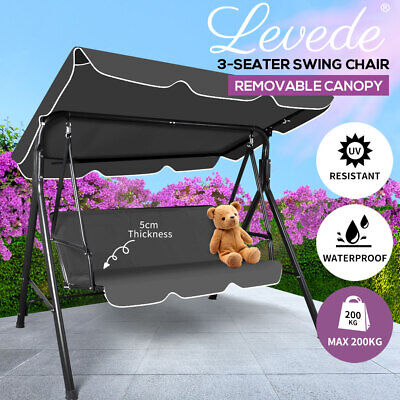 AU131.99 • Buy Levede Swing Chair Hammock Outdoor Furniture Garden Canopy Cushion Bench Grey