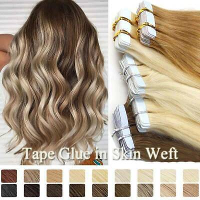 Premium Tape In Hair Extensions Invisible Glue Skin Weft Russian Remy Human Hair • 46.06£