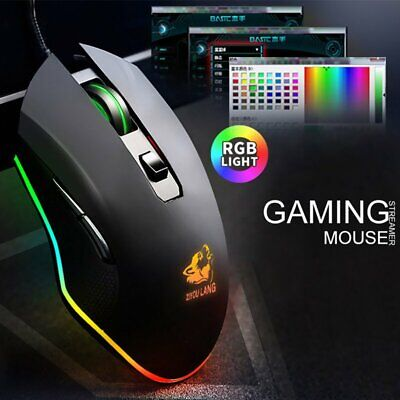 AU22.76 • Buy LED USB Wired 3200DPI Gaming Mouse RGB Ergonomic Backlight Optical For PC Laptop
