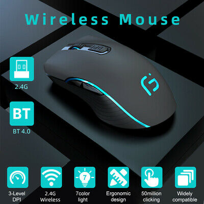AU31.69 • Buy WR Wireless Bluetooth Mouse Rechargeable Dual Mode Silent Ergonomic For Laptop
