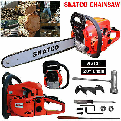 20  52cc Heavy Duty Chainsaw Wood Cutting Saw Cutter Two Stroke Petrol Engine UK • 76.89£