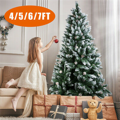 4-7FT Snow White Flocking Tips Bushy Artificial Christmas Tree With Metal Stand • 59.99£