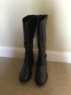 Leather Boots, Wide Calf Pavers Black Size38 (5) • 40£