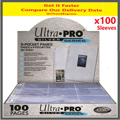 100 X ULTRA PRO SILVER SERIES 9 POCKET CARD SLEEVES SEALED BOX PAGES MTG POKEMON • 26£