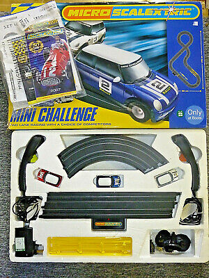 Micro Scalextric Set Mini Challenge Mini Cooper Cars X3 Racing Toy VGC Tested • 24.95£