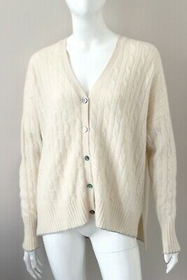 NPEAL N.PEAL Cream Cashmere Cable Knit Cardigan Jumper Sweater V-neck Loose M • 269£