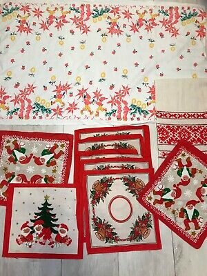 $ CDN36.39 • Buy Vintage Christmas Tablecloth Santa Candles Red