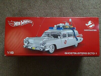 BOXED, MINT, RARE - Hotwheels Mattel Diecast Ghostbusters ECTO-1 Scale 1:18 • 160£