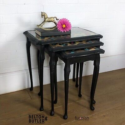 Glass Topped Nest Of Three Tables In Black And Leopard Print By Muck N Brass • 225£