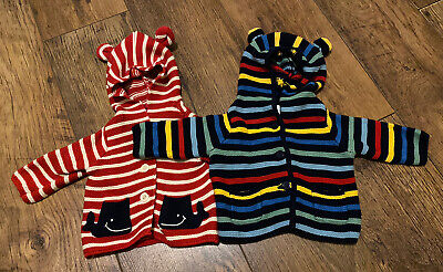 2x Baby Boys Gap 0-3months Knit Jackets With Bear Ear Hoodie • 3.99£