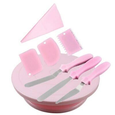 £16.98 • Buy Cake Decorating Turntable With Icing Smoother Spatula Cream Bag Baking Set New