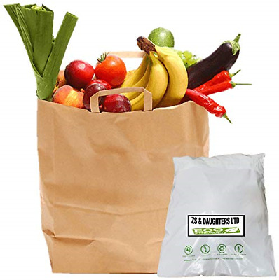 Strong Brown Paper Bags With Handles Sandwich Lunch Takeaway Food Shopping Party • 13£