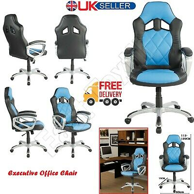 Swivel Racing Sport Gaming Office Chair Leather Computer Desk Home Chairs Seat • 68.95£