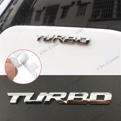 Silver TURBO Letter Sticker Metal Emblem Badge Auto Car Styling Decal Logo NEW • 2.75£