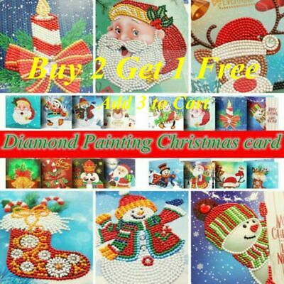 £8.99 • Buy Christmas Card 5D DIY Partial Drill Diamond Painting Greeting Festival Gift Arts