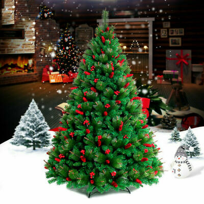 7ft/2.1M Christmas Tree 1600 Tips Bushy Artificial Tree With Metal Stand Green • 28.99£