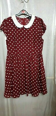 Forever 21 Women Dress Polka Dot Collared Red Size L • 3.99£