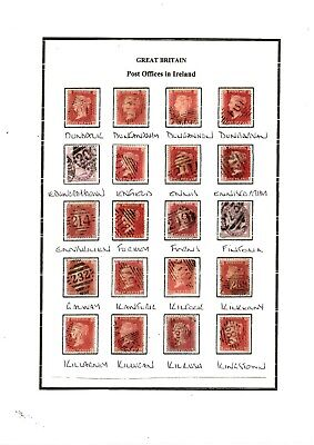queen Victoria Penny Red Stars/plate Numbers/lilac Irish Duplex Postmarks • 10£