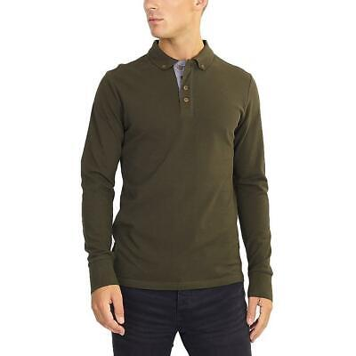 Brave Soul Mens Lincoln Polo Shirt - Long Sleeved - Button Down Collar - Khaki • 10.33£
