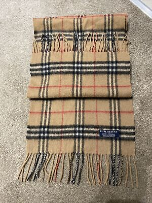100% Cashmere Vintage Burberry Woolen Scarf In Classic Check • 68£