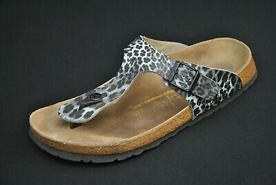 Papillio Birkenstock Gray Leopard Leather Gizeh Sandals 41 L 10 Animal Print  • 47.66£