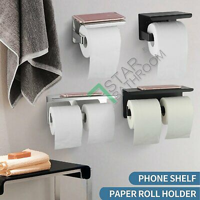 AU34.90 • Buy Toilet Paper Roll Holder SUS304 Shelf Storage Cover Twin Hook Wall Chrome Black