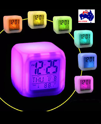 AU12.55 • Buy LCD Digital Alarm Clock 7 LED Colors Changing Glowing Temperature Night Light