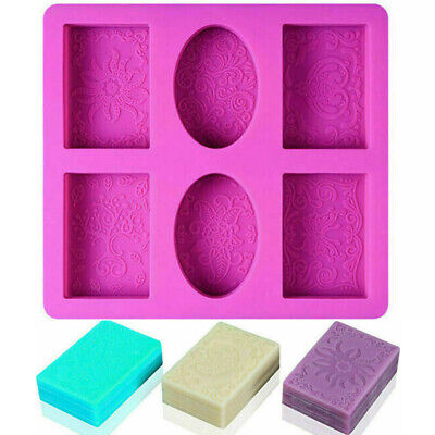 Silicone Soap Mold 6 Forms Oval Rectangle Cake  Mould Homemade DIY Making Craft • 6.19£